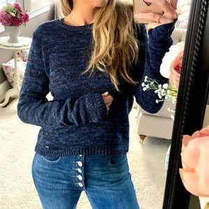 HOLLISTER | Marled Blue Chunky Knit Sweater Zipper